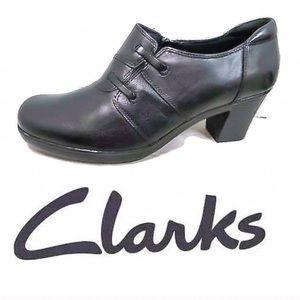 Black Leather Dream Hills Slip On Heeled Shoes